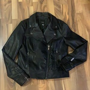 Biker Moto Style faux leather jacket M